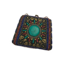 Embroidered Leather Handmade Stone Clutch, Packaging Type: Box