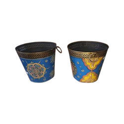 Multicolor Hand Painted Iron Bucket, 5 Litre