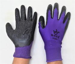 Purple On Black Latex Palm Coated Hand Gloves
