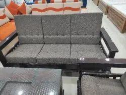 Walnut and natural wood colour Teakwood Sofa Set, For Home