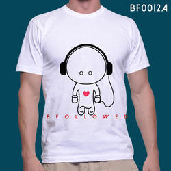Cotton Printed White Round Neck T Shirt, Size: Small, Medium, Large, XL