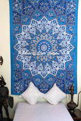 Twin Star Blue Mandala Tapestry Indian Wall Hanging
