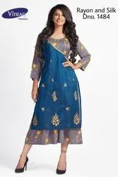 Fancy Rayon Kurti with Front Silk Flap and Embroidery