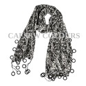 Black Print Crepe Scarves