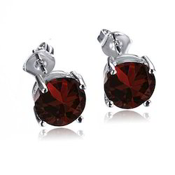 Garnet Silver Studs Earrings