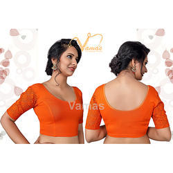 Orange Half Sleeve Plain Blouse