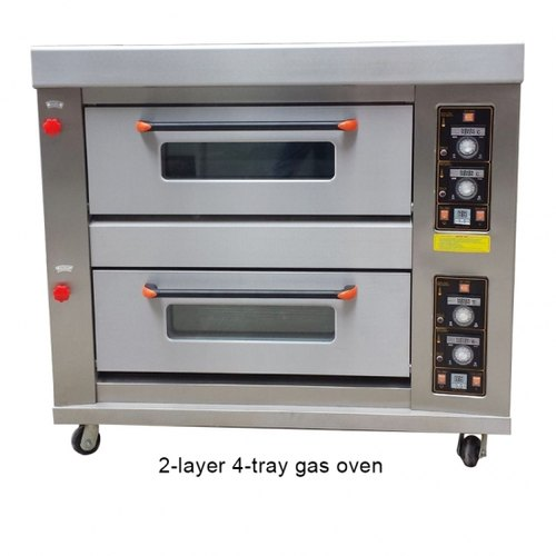 Double Glass 2 Deck 4 Trays Commercial Gas Bakery Oven