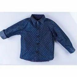 Party Wear Dotted Kids Full Sleeve Denim Shirt