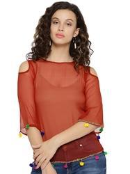 Bell Sleeve Solid Women Red Top