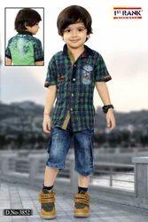 Cotton (shirt) Boys Stylish Capri Set