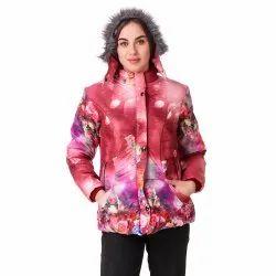 Peach Printed Woolen Jacket