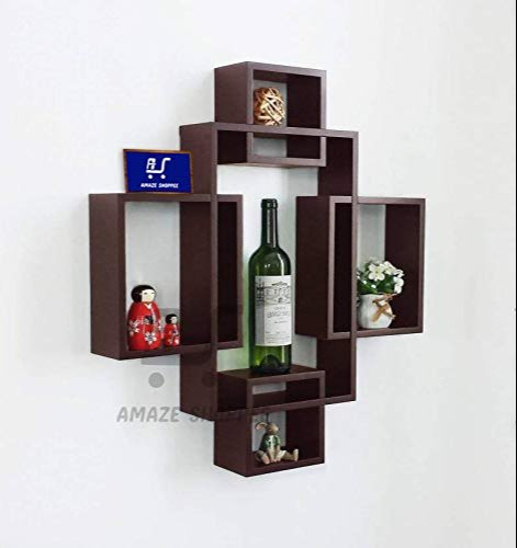 Wooden Intersecting Wall Shelves Shelf For Living Room Set Of 5 Brown By Amaze Shoppee At Rs 1599 Unit Wall Shelves Id 20898524388