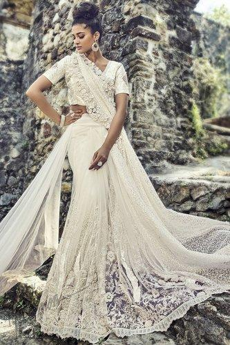 78dd0c1c2 Off White Cut Work Bridal Saree With Blouse | ID: 20415638030