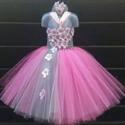 Pink Stitch Girls Party Wear Frock, Packaging Type: Packet