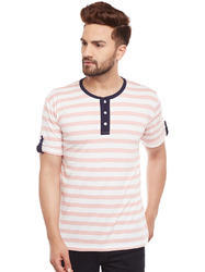 100% Cotton Men Half Sleeve Striped Henley Multicolour T-Shirt