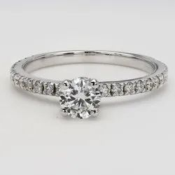 1ct Diamond Ring E Color SI1 Clarity 14k White Gold
