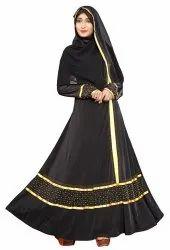 Women's Lycra Satin Lace And Golden Diamond Work Abaya Burka With Dupatta