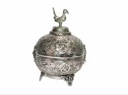 AJN-114 Silver Plated Brass Sindoor Box