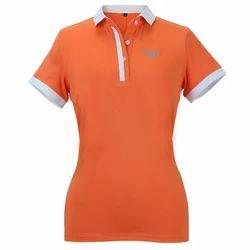 Orange Plain Ladies Collar T Shirt