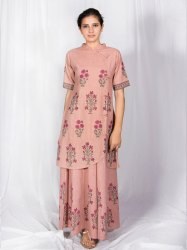 Peach Jaipuri Hand Block Printed Kurti with Skirt Dress