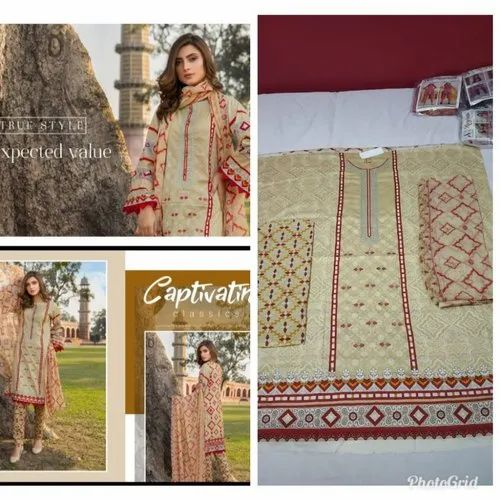 691ce749a6 Beige Full Length Unstiched Pakistani Lawn Embroidered Suit, Rs 1300 ...
