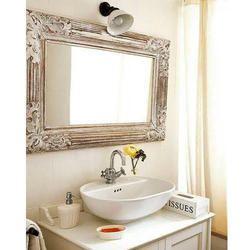 Light Brown Wooden Wall Mirror