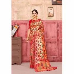 Gold & Red Designer Classic Wear Silk Saree