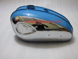 New Bsa C15 Chromed And Blue Painted Petrol Tank (Reproduction)
