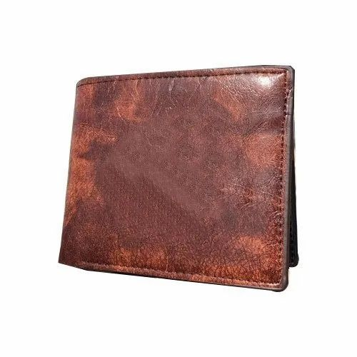Male Two Fold Brown Leather Wallet
