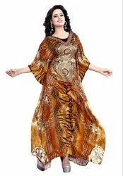 Women Digital Printed Satin Silk Long Kaftan (JK3975)