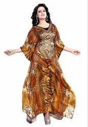 Women Digital Printed Satin Silk Long Kaftan (JK3975)