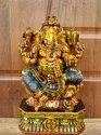 Lord Ganesha One Foot Cute Wooden Idol