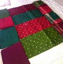 Full Bandani Work With Small Mirror Work Suit Piece With Plane Salwar And Bandhani Dupatta