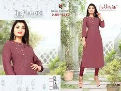 Ladies Chanderi Silk Kurti (D No 2220)