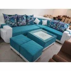 8 Seater Blue Designer Wooden Sofe Set
