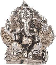 Silver Plated Ganesha Sitting in Leaf