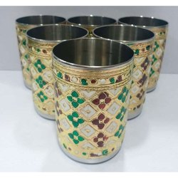 Meenakari Stainless Steel Glass, Material Grade: Ss 304, Packaging Type: Box