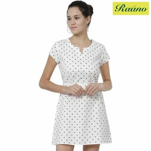 Polka Print Cotton Blend Women Fit And Flare White Dress