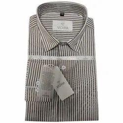 Cotton Collar Neck Mens Formal Striped Shirt