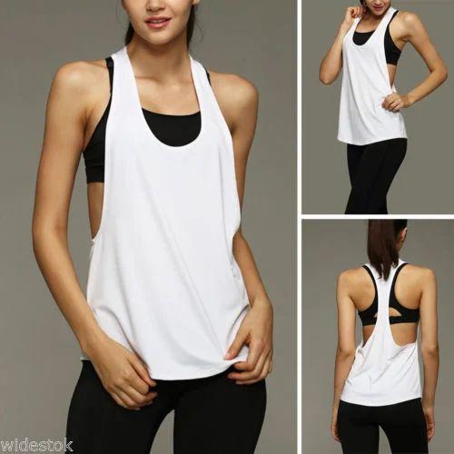 977e7ca5cb664e Cotton Plain Womens Sports Vest Fitness Exercise Gym Yoga Tank Tops Singlet  Loose Tops