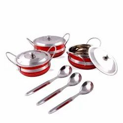 Red Rident Kitchen Stainless Steel Handi Serving Pot with Steel Lid