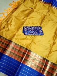 Silk Hand Block Printed Handloom Sarees, 6.3 m (with Blouse Piece)