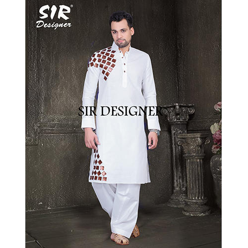 f295f671d77 Cotton Linen White Printed Pathani Kurta Pyjama