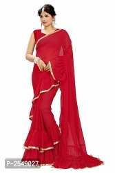 Party Wear Plain Georgette Ruffle Saree