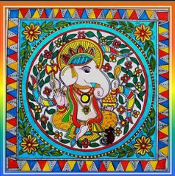 Madhubani Painting Of Lord Ganesha - Madhubani Art Online, Madhubani