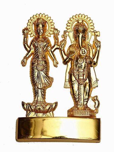 Aslomal Vijay Kumar Golden (Gold Plated) Laxmi Ganesh Metal Murti, Packaging Type: Box