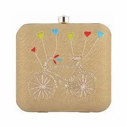 Azzra Women Cycle Design Beige Zardosi Work Clutch