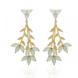 Aqua Chalcedony Leaf Long Earrings
