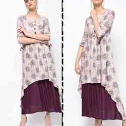 Ladies Rayon Round Neck Kurti