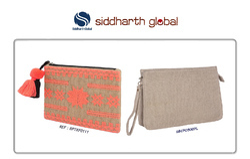 Siddharth Natural Jute Clutch Pouch Bag, Shape: Rectangular